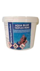 Aqua Blue triplex Mini Multifunkční  minitablety pro úpravu bazénové vody 3 kg-Aqua Blue Triplex 3kg je pomalu rozpustný třífunkční přípravek pro čištění bazénu ve formě tablet. Obsahuje složky pro dezinfekci, vyvločkování a proti tvorbě řas.