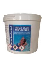 Aqua Blue triplex Mini Multifunkční  minitablety pro úpravu bazénové vody 5 kg-Aqua Blue Triplex 5kg je pomalu rozpustný třífunkční přípravek pro čištění bazénu ve formě tablet. Obsahuje složky pro dezinfekci, vyvločkování a proti tvorbě řas.