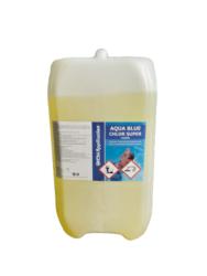 Aqua Blue CHLOR Super roztok - prostředek k trvalé dezinfekci bazénové vody 20 l-Tekutý Chlor super roztok 20 l  nahrazuje chlornan sodný určený k trvalé dezinfekci bazénové vody pomocí automatického dávkovacího zařízení. Stabilizovaný pro všechny stupně tvrdosti vody. Chlor super roztok 10 l je základní přípravkem pro údržbu bazénu.    Jedná se o koncentrovaný přípravek s obsahem kapalného chlornanu sodného.