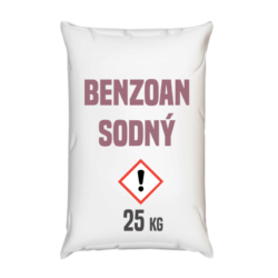 Benzoan sodný, silážní prostředek ke kvašení 25 kg-Benzoan sodný, silážní prostředek ke kvašení, konzervační prostředek pro krmiva zvláště vhodný pro silážování trávy nebo kukuřice. Má antibakteriální a fungicidní vlastnosti. Používat v množství 1 až 2 kg na 10 tun siláže. Výrobek rozpusťte v 1-2 vědrech studené vody a rovnoměrně aplikujte na povrchu siláže. Konzervuje zelený materiál během silážování, zastavuje druhotnou fermentaci, zabraňuje násobení nežádoucích hub.     Benzoan sodný je dostupný v balení: 25 kg pytel 300 kg polopaleta 1000 kg paleta