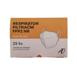 RESPIRÁTOR AD-2022 FFP2, 25 ks-Respirátor třídy FFP2 neboli filtrační polomaska s tvarovatelnou páskou kopírující tvar nosu a elastickou gumičkou k upínání respirátoru za uši. Vysoká filtrační schopnost proti prachovým částicím, bakteriím a virům. Vysoká prodyšnost.  Balení: 25 ks jednotlivě zabalené respirátory ve fólii Počet vrstev: 5