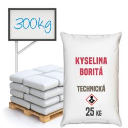Kyselina boritá technická 300 kg-Kyselina boritá technická - je anorganická chemická sloučenina, pH mírně kyselé v malých koncentracích. Využívá se především v oborech keramického průmyslu a při výrobě skla, nátěrových hmot, smaltu. Ve výrobě kosmetiky jako přídavná látka do krémů a toniků. Přidává se do izolačních skleněných vláken, v zemědělství jako doplněk k hnojivům. V dřevozpracujícím průmyslu se používá k ochraně dřeva a jako dezinfekční prostředek. Je složkou detergentů a prostředku na hubení hmyzu. V nabídce v pytlích po 25 kg ve formě granulí.