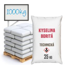 Kyselina boritá technická, 1000 kg-Kyselina boritá technická - je anorganická chemická sloučenina, pH mírně kyselé v malých koncentracích. Využívá se především v oborech keramického průmyslu a při výrobě skla, nátěrových hmot, smaltu. Ve výrobě kosmetiky jako přídavná látka do krémů a toniků. Přidává se do izolačních skleněných vláken, v zemědělství jako doplněk k hnojivům. V dřevozpracujícím průmyslu se používá k ochraně dřeva a jako dezinfekční prostředek. Je složkou detergentů a prostředku na hubení hmyzu. V nabídce v pytlích po 25 kg ve formě granulí.