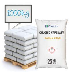 Chlorid vápenatý, dihydrát 1000 kg-Kód produktu: KC-00015-1 Specifikace: Obsah: 25 kg Hromadné balení: Polopaleta 12 pytlů 25 kg, paleta 40 pytlů 25 kg pH: 7  Chlorid vápenatý 25 kg - Zabraňuje hromadění prachu na nezpevněných vozovkách, sportovních hřištích, tenisových kurtech a štěrkových drahách. Navíc je používán jako prostředek pro vysoušení plynů a kapalin v chemických syntézách.  Přípravek pro chemické odstraňování sněhu, odstraňování ledu ze silnic, chodníků a schodů v zimním období. Běžně zvaný jako ekologická silniční sůl s ohledem na nízkou ekologickou zátěž ve srovnání s kuchyňskou solí používanou jako silniční sůl.  Chlorid vápenatý je dostupný v balení: 25 kg 300 kg 1000 kg