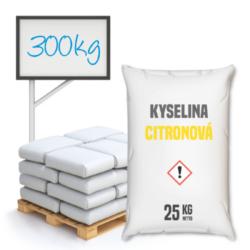 Distripark Kyselina citronová 300 kg-Kyselina citronová - běžně používaná v potravinách - kódové označení E330 - jako regulátor kyselosti a současně jako složka prodlužující trvanlivost výrobků.  Není to konzervační látka, ale snížením pH zvyšuje trvanlivost části vitamínů a živin. Kyselina citronová je organická sloučenina ze skupiny hydroxykarbolových kyselin, získávaná chemickou syntézou nebo citronovou fermentací očištěného cukru nebo škrobového hydrolyzátu s pomocí plísňových kultur. Zmínky o jejím rakovinotvorném působení nenacházejí žádné potvrzení.  Kyselina citronová je dostupná v balení: 25 kg pytel 300 kg polopaleta 1000 kg paleta