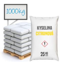 Kyselina citronová 1000 kg-Kyselina citronová 1000 kg  Běžně používaná v potravinách - kódové označení E330 - jako regulátor kyselosti a současně jako složka prodlužující trvanlivost výrobků.  Není to konzervační látka, ale snížením pH zvyšuje trvanlivost části vitamínů a živin. Kyselina citronová je organická sloučenina ze skupiny hydroxykarbolových kyselin, získávaná chemickou syntézou nebo citronovou fermentací očištěného cukru nebo škrobového hydrolyzátu s pomocí plísňových kultur. Zmínky o jejím rakovinotvorném působení nenacházejí žádné potvrzení.  Kyselina citronová je dostupná v balení:        5 kg kbelík     25 kg pytel     300 kg polopaleta     1000 kg paleta