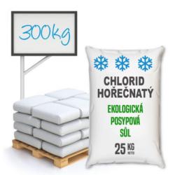 Chlorid hořečnatý technický, distripark 300 kg-Chlorid hořečnatý technický (MgCl2), neorganická hořečnatá sůl, vhodný jako ekologická posypová sůl.  V podzimním a zimním období se s ohledem na silnou exotermicitu při pohlcování vlhkosti používá jako silniční sůl. Je to vhodná alternativa pro kuchyňskou sůl a chlorid vápenatý. Podobně jako ten druhý při používání na silnicích nedegraduje přírodní prostředí, nezpůsobuje erozi vozovky ani vozidel. Nachází využití ve farmaceutickém průmyslu při výrobě krémů, balzámů, tělových olejů, vlasových kondicionérů a mnoha jiných kosmetických výrobků.  Tento chlorid hořečnatý není vhodný pro lázeňské a kosmetické učely, koupele apod.    Chlorid hořečnatý je dostupný v balení: 25 kg 300 kg 1000 kg