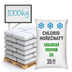 Chlorid hořečnatý technický, 1000 kg-Chlorid hořečnatý technický (MgCl2), neorganická hořečnatá sůl, vhodný jako ekologická posypová sůl.   V podzimním a zimním období se s ohledem na silnou exotermicitu při pohlcování vlhkosti používá jako silniční sůl. Je to vhodná alternativa pro kuchyňskou sůl a chlorid vápenatý. Podobně jako ten druhý při používání na silnicích nedegraduje přírodní prostředí, nezpůsobuje erozi vozovky ani vozidel. Nachází využití ve farmaceutickém průmyslu při výrobě krémů, balzámů, tělových olejů, vlasových kondicionérů a mnoha jiných kosmetických výrobků. Poznámka: V zimním období je doba realizace objednávky 3-5 pracovních dní.  Tento chlorid hořečnatý není vhodný pro lázeňské a kosmetické učely, koupele apod.    Chlorid hořečnatý je dostupný v balení: 25 kg 300 kg 1000 kg