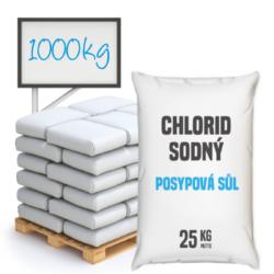 Posypová sůl - chlorid sodný, distripark 1000 kg-Posypová sůl - chlorid sodný. Používání kamenné soli je nejrozšířenější způsob údržby komunikací, chodníků a náměstí v zimním období. Sůl je balená v 25kg pytlích po 40 ks na paletě. Námi nabízená sůl obsahuje protihrudkující látku.  Posypová sůl - chlorid sodný je dostupný v baleních: 5 kg 10 kg 25 kg 300 kg 1000 kg