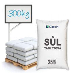 Tabletová sůl, chlorid sodný, 300 kg-Tabletová regenerační sůl - chlorid sodný v podobě kulatých bílých kapslí zakončených válcovým povrchem.  Solné tablety jsou používány pro proces změkčování vody, díky kterému se zvyšuje životnost a doba bezporuchového provozu domácích spotřebičů jako jsou například pračky, myčky nádobí a změkčovače vody. Velmi snadné dávkování.  Sůl v tabletách je dostupná v baleních: 25 kg pytel 300 kg paleta 1000 kg paleta