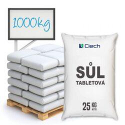 Tabletová sůl, chlorid sodný 1000 kg-Tabletová regenerační sůl - chlorid sodný v podobě kulatých bílých kapslí zakončených válcovým povrchem.  Solné tablety jsou používány pro proces změkčování vody, díky kterému se zvyšuje životnost a doba bezporuchového provozu domácích spotřebičů jako jsou například pračky, myčky nádobí a změkčovače vody. Velmi snadné dávkování.  Sůl v tabletách je dostupná v baleních: 25 kg pytel 300 kg paleta 1000 kg paleta