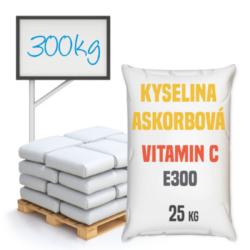 Vitamin C, kyselina askorbová, potravinářská 300 kg-Vitamín C, kyselina askorbová potravinářská - kyselina L-askorbová neboli vitamín C s chemickým složením C6H8O6. Vitamín C je potravinářská přídavná látka patřící do kategorie antioxidantů a regulátorů kyselosti s číslem E300. Používá se v potravinářském, farmaceutickém a kosmetickém průmyslu a jako laboratorním činidlo. Kyselina askorbová je silný antioxidant, který zpomaluje proces stárnutí. V potravinářském průmyslu se používá jako antioxidant a regulátor kyselosti.  Vitamín C je dostupný v balení: 25 kg pytel 300 kg polopaleta 1000 kg paleta