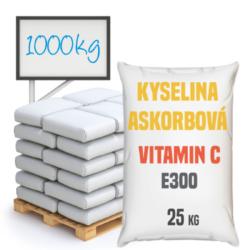 Vitamin C, kyselina askorbová, potravinářská 1000 kg-Vitamín C, kyselina askorbová potravinářská - kyselina L-askorbová neboli vitamín C s chemickým složením C6H8O6. Vitamín C je potravinářská přídavná látka patřící do kategorie antioxidantů a regulátorů kyselosti s číslem E300. Používá se v potravinářském, farmaceutickém a kosmetickém průmyslu a jako laboratorním činidlo. Kyselina askorbová je silný antioxidant, který zpomaluje proces stárnutí. V potravinářském průmyslu se používá jako antioxidant a regulátor kyselosti.  Vitamín C je dostupný v balení: 25 kg pytel 300 kg polopaleta 1000 kg paleta