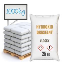Hydroxid draselný - vločky, 1000 kg-Hydroxid draselný vločky, anorganická chemická sloučenina KOH ze skupiny hydroxidů. Je jednou z nejsilnějších zásad na světě (pH 14). Prodává se ve formě bílé pevné látky, která se rozpouští pod vlivem vlhkosti. Výrobek se silnými hygroskopickými vlastnostmi, velmi dobře se rozpouští ve vodě. Výrobek pro profesionální použití.  Hydroxid draselný vločky je dostupný v balení: 25 kg pytel 300 kg polopaleta 1000 kg paleta