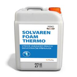 SOLVAREN Foam Thermo vys. alkalický prací a sekvestr. přípr. 27 kg-Solvaren Foam Thermo je pěnový přípravek neobsahující chlor pro mytí a důkladné čištění otevřených povrchů pokrytých sintrem, dehtem a uhlíkovými usazeninami. Dokonale rozpouští připáleniny a organické znečištění. Doporučeno pro použití při vyšších teplotách. Obsahuje antikorozní, ochranné a komplexní složky.