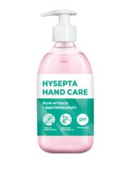 Dezinfekce rukou Hysepta Hand Care 0,5 l-HYSEPTA HAND CARE - Mycí a dezinfekční tekutina určená k hygienické dezinfekci rukou během cestování a v oblasti potravinářství. Produkt vykazuje baktericidní účinek.  Bez alkoholu Bez chlóru Antibakteriální účinek Hygienická dezinfekce rukou  Neutrální pH
