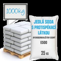 Jedlá soda s protispékací látkou, E500 (ii) 1000 kg-Jedlá soda E500 (ii) s protispékací látkou 25 kg - jinými slovy hydrogenuhličitan sodný (soda bicarbona) je pomocná látka přidávána do potravin označená symbolem [E500 (ii)]. Vyskytuje se ve formě bílého krystalického prášku. Používá se v mnoha odvětvích potravinářského průmyslu, léčitelství a jako ekologický čisticí prostředek v domácnostech (je součástí prášku na pečení a tablet používaných v léčbě překyselení žaludku). Používá se také v pěnových hasicích přístrojích (jako pěnicí složka).  Hydrogenuhličitan sodný dostupný v balení:      25 kg pytel     300 kg polopaleta     1 000 kg paleta  Protispékavá látka může po rozmíchání ve vodě tvořit vločky. Tato jedlá soda je vhodnější pro suché použití.