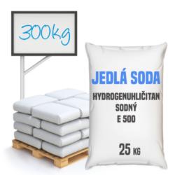 Distripark Jedlá soda bez protispékací látky, E500 (ii)  300 kg-Jedlá soda E500 (ii) bez protispékací látky - jinými slovy hydrogenuhličitan sodný je pomocná látka přidávána do potravin označená symbolem [E500 (ii)]. Vyskytuje se ve formě bílého krystalického prášku. Používá se v mnoha odvětvích potravinářského průmyslu, léčitelství a jako ekologické čisticí prostředky v domácnostech (je součástí prášku na pečení a tablet používaných v léčbě překyselení žaludku). Používá se také v pěnových hasicích přístrojích (jako pěnicí složka).  Hydrogenuhličitan sodný dostupný v balení: 5 kg kyblík 25 kg pytel 300 kg polopaleta 1000 kg paleta