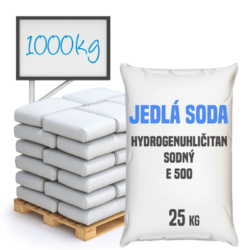 Jedlá soda bez protispékací látky, E500 (ii) 1000 kg-Jedlá soda E500 (ii) bez protispékací látky 25 kg - jinými slovy hydrogenuhličitan sodný je pomocná látka přidávána do potravin označená symbolem [E500 (ii)]. Vyskytuje se ve formě bílého krystalického prášku. Používá se v mnoha odvětvích potravinářského průmyslu, léčitelství a jako ekologické čisticí prostředky v domácnostech (je součástí prášku na pečení a tablet používaných v léčbě překyselení žaludku). Používá se také v pěnových hasicích přístrojích (jako pěnicí složka).  Hydrogenuhličitan sodný dostupný v balení: 5 kg kyblík 25 kg pytel 300 kg polopaleta 1000 kg paleta