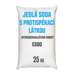 Distripark Jedlá soda s protispékací látkou 25 kg-Jedlá soda E500 (ii) s protispékací látkou 25 kg - jinými slovy hydrogenuhličitan sodný (soda bicarbona) je pomocná látka přidávána do potravin označená symbolem [E500 (ii)]. Vyskytuje se ve formě bílého krystalického prášku. Používá se v mnoha odvětvích potravinářského průmyslu, léčitelství a jako ekologický čisticí prostředek v domácnostech (je součástí prášku na pečení a tablet používaných v léčbě překyselení žaludku). Používá se také v pěnových hasicích přístrojích (jako pěnicí složka).  Hydrogenuhličitan sodný dostupný v balení: 5 kg kbelík 25 kg pytel 300 kg polopaleta 1 000 kg paleta  Obsahuje hygroskopickou protispékací látku. Protispékavé látky snižují tendenci jednotlivých částic potraviny ulpívat vzájemně na sobě a snižují vytváření hrudek, proto také doba rozpouštění ve vodě může být delší a mohou se tvořit vločky, které se po delší době a správném rozmíchání, zcela rozpustí.