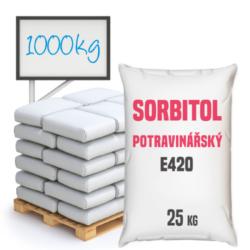 Sorbitol prášek E420 (i), 1 000 kg-Sorbitol (sorbit, sorbolol) se vyskytuje v ovoci, syntetický sorbitol se získává redukci glukósy získané z kukuřičného sirupu. Sorbitol se vyskytuje ve formě krystalického prášku se sladkou chutí, je dobře rozpustný ve vodě. V potravinářském průmyslu je Sorbitol doplňkem stravy s číslem E420, používaným jako sladidlo. V kosmetickém průmyslu je složkou v kosmetice. Používá se také v plastovém, textilním a papírenském průmyslu a v zemědělství jako doplněk krmiv.  Sorbitol je dostupný v balení: 25 pytel 300 kg polopaleta 1000 kg paleta