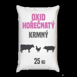 Oxid hořečnatý, krmný 25 kg-Oxid hořečnatý krmný 25 kg - také nazývaný kalcinovaný magnezit, je anorganická chemická sloučenina odvozená ze skupiny základních oxidů. Obsahuje hořčík na druhém stupni oxidace. Má poměrně širokou škálu použití. Je mimo jiné vhodnou přísadou do krmiv a premixů.  Oxid hořečnatý je k dostání v baleních: 25 kg pytel 300 kg polopaleta 1000 kg paleta