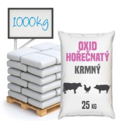 Oxid hořečnatý, krmný 1000 kg-Oxid hořečnatý krmný 25 kg - také nazývaný kalcinovaný magnezit, je anorganická chemická sloučenina odvozená ze skupiny základních oxidů. Obsahuje hořčík na druhém stupni oxidace. Má poměrně širokou škálu použití. Je mimo jiné vhodnou přísadou do krmiv a premixů.  Oxid hořečnatý je k dostání v baleních: 25 kg pytel 300 kg polopaleta 1000 kg paleta