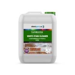 TopMeister Whitestain Cleaner - 5l-TopMeister WHITESTAIN CLEANER 5l - k odstranění bílých výkvětů a skvrn  Výrobek k odstraňování bílých výkvětů a usazenin. Připraveno k použití na materiály jako: slínky, přírodní kámen, dlažební kameny, cihly a beton. Produkt odstraňuje bílé skvrny bez poškození povrchu. Rychle a levně odstraníte všechny nečistoty i bílé výkvěty. Lze použít na mnoho druhů materiálů. Vysoce efektivní při používání na: ·Povrchy z porézního materiálu ·Fasády ·Stěny, kamenné a betonové ploty ·Nepoškozuje povrch Dostupné v balení: 1l láhev 5l kanystr